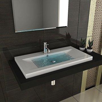 Gäste WC Waschtisch Eckiges Aufsatz Waschbecken aus Mineralguss / 90 cm Breite Handwaschbecken mit Überlauf - 7