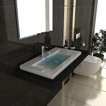 Gäste WC Waschtisch Eckiges Aufsatz Waschbecken aus Mineralguss / 90 cm Breite Handwaschbecken mit Überlauf - 8