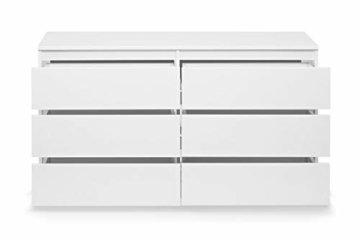Galdem Kommode mit 6 Schubladen 140cm Sideboard Mehrzweckschrank Anrichte Diele Flur Esszimmer Wohnzimmer Weiß - 3