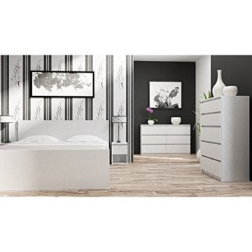 Galdem Kommode mit 6 Schubladen 140cm Sideboard Mehrzweckschrank Anrichte Diele Flur Esszimmer Wohnzimmer Weiß - 4