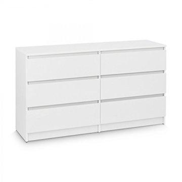 Galdem Kommode mit 6 Schubladen 140cm Sideboard Mehrzweckschrank Anrichte Diele Flur Esszimmer Wohnzimmer Weiß - 1