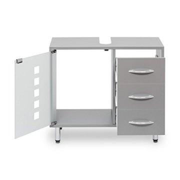 Galdem Waschbeckenunterschrank mit 3 Schubladen Glastür Bad Möbel Badschrank Gäste WC Gästebad Waschtisch Unterschrank Holz Graphite - 3