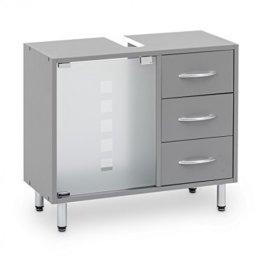 Galdem Waschbeckenunterschrank mit 3 Schubladen Glastür Bad Möbel Badschrank Gäste WC Gästebad Waschtisch Unterschrank Holz Graphite - 1