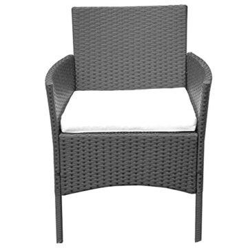 HENGMEI Gartengarnitur Polyrattan Gartenmöbel Set Lounge Sitzgarnitur Gartensofa Rattanmöbel mit 2 Sessel + 1 Bank (Schwarz, Type E mit Weiß Kissen) - 3