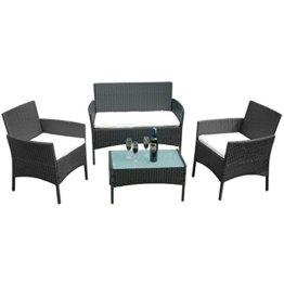 HENGMEI Gartengarnitur Polyrattan Gartenmöbel Set Lounge Sitzgarnitur Gartensofa Rattanmöbel mit 2 Sessel + 1 Bank (Schwarz, Type E mit Weiß Kissen) - 1