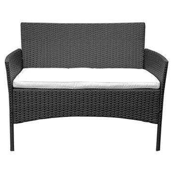 HENGMEI Gartengarnitur Polyrattan Gartenmöbel Set Lounge Sitzgarnitur Gartensofa Rattanmöbel mit 2 Sessel + 1 Bank (Schwarz, Type E mit Weiß Kissen) - 4