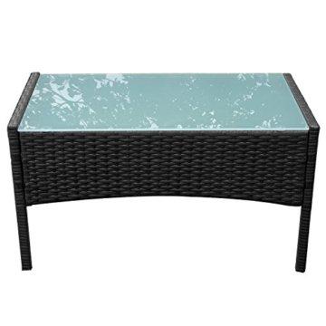 HENGMEI Gartengarnitur Polyrattan Gartenmöbel Set Lounge Sitzgarnitur Gartensofa Rattanmöbel mit 2 Sessel + 1 Bank (Schwarz, Type E mit Weiß Kissen) - 5