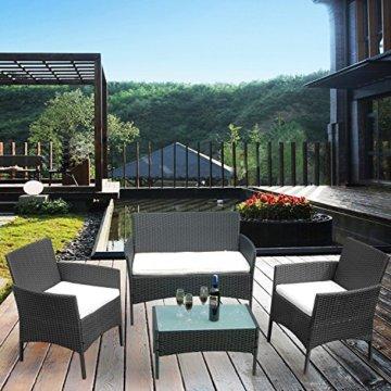 HENGMEI Gartengarnitur Polyrattan Gartenmöbel Set Lounge Sitzgarnitur Gartensofa Rattanmöbel mit 2 Sessel + 1 Bank (Schwarz, Type E mit Weiß Kissen) - 6