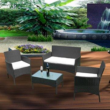 HENGMEI Gartengarnitur Polyrattan Gartenmöbel Set Lounge Sitzgarnitur Gartensofa Rattanmöbel mit 2 Sessel + 1 Bank (Schwarz, Type E mit Weiß Kissen) - 7