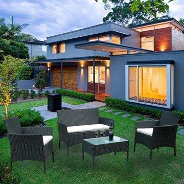 HENGMEI Gartengarnitur Polyrattan Gartenmöbel Set Lounge Sitzgarnitur Gartensofa Rattanmöbel mit 2 Sessel + 1 Bank (Schwarz, Type E mit Weiß Kissen) - 9