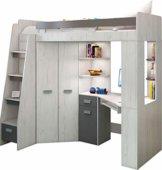 Hochbett/Etagenbett mit Treppe rechts oder links, alles-in-einem-Möbel-Set für Kinder mit Bett, Kleiderschrank, Regal und Schreibtisch Craft-white/Graphite - Left Hand-side Stairs. - 1