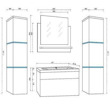 Home Deluxe - Badmöbel-Set - Wangerooge schwarz - XL - inkl. Waschbecken und komplettem Zubehör - Verschiedene Größen - 2
