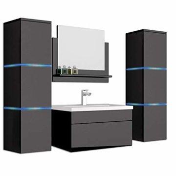 Home Deluxe - Badmöbel-Set - Wangerooge schwarz - XL - inkl. Waschbecken und komplettem Zubehör - Verschiedene Größen - 1