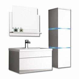 Home Deluxe - Badmöbel-Set - Wangerooge weiß - L - inkl. Waschbecken und komplettem Zubehör - Verschiedene Größen - 1