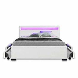 Home Deluxe - LED Bett – Nube weiß - 140 x 200 cm Größen - 1