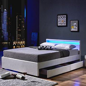 Home Deluxe - LED Bett – Nube weiß - 180 x 200 cm - verschiedene Farben und Größen - 2