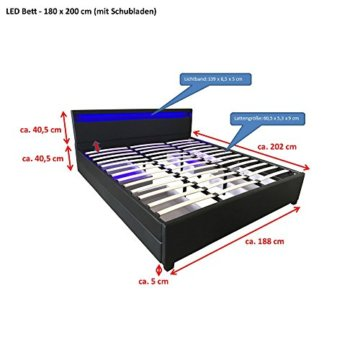 Home Deluxe - LED Bett – Nube weiß - 180 x 200 cm - verschiedene Farben und Größen - 3