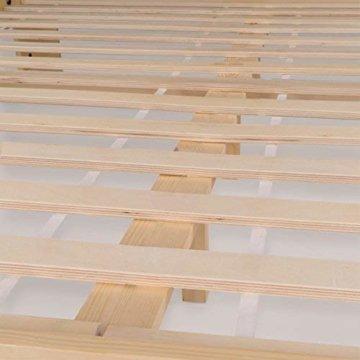 Homelux Massivholzbett Kiefer Doppelbett Balkenbett Bettgestell Bettrahmen Lattenrost 140 x 200 cm Natur - 5