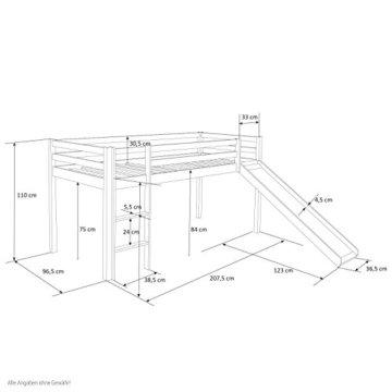Homestyle4u 1544, Kinder Hochbett Mit Rutsche, Leiter, Vorhang Blau, Massivholz Kiefer Weiß, 90x200 cm - 5
