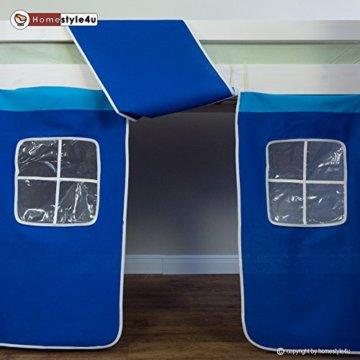 Homestyle4u 1544, Kinder Hochbett Mit Rutsche, Leiter, Vorhang Blau, Massivholz Kiefer Weiß, 90x200 cm - 6