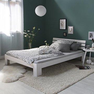 Homestyle4u 1821, Holzbett 140x200, Doppelbett mit Lattenrost, Weiss, Kiefer Massivholz - 2