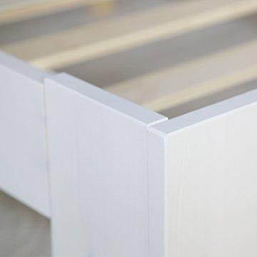 Homestyle4u 1835 Holzbett 160x200 cm Doppelbett Weiß mit Lattenrost Futonbett 160 x 200 Bettgestell Bett aus Kiefer Massivholz - 7