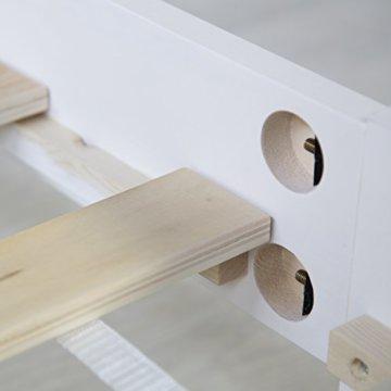 Homestyle4u 1835 Holzbett 160x200 cm Doppelbett Weiß mit Lattenrost Futonbett 160 x 200 Bettgestell Bett aus Kiefer Massivholz - 8