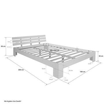 Homestyle4u 1836 Holzbett 180x200 cm Doppelbett Weiß mit Lattenrost Futonbett 180 x 200 Bettgestell Bett aus Kiefer Massivholz - 4