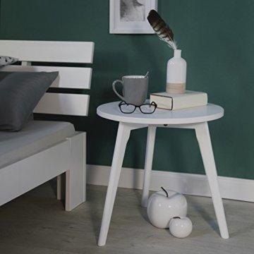 Homestyle4u 1836 Holzbett 180x200 cm Doppelbett Weiß mit Lattenrost Futonbett 180 x 200 Bettgestell Bett aus Kiefer Massivholz - 5