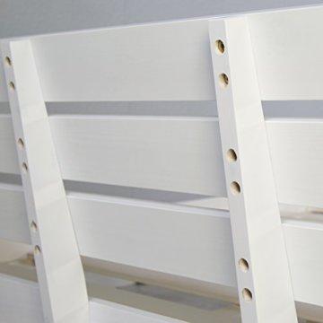 Homestyle4u 1836 Holzbett 180x200 cm Doppelbett Weiß mit Lattenrost Futonbett 180 x 200 Bettgestell Bett aus Kiefer Massivholz - 9