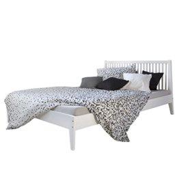 Homestyle4u 1844, Holzbett 140x 200 Weiß, Bett mit Lattenrost, Kiefer Massivholz - 1