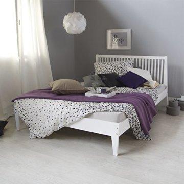 Homestyle4u 1844, Holzbett 140x 200 Weiß, Bett mit Lattenrost, Kiefer Massivholz - 2