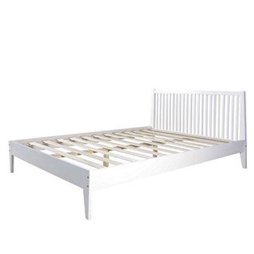 Homestyle4u 1844, Holzbett 140x 200 Weiß, Bett mit Lattenrost, Kiefer Massivholz - 3