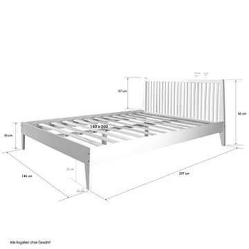 Homestyle4u 1844, Holzbett 140x 200 Weiß, Bett mit Lattenrost, Kiefer Massivholz - 6