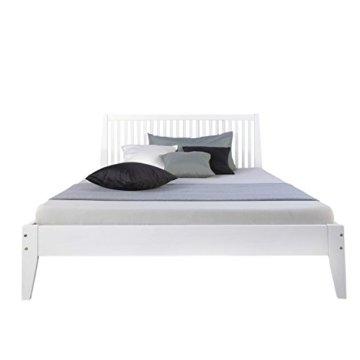 Homestyle4u 1844, Holzbett 140x 200 Weiß, Bett mit Lattenrost, Kiefer Massivholz - 7