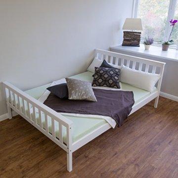 Homestyle4u 890 Holzbett Kiefer massiv , Doppelbett Holz aus Bettgestell mit Lattenrost , 140x200 cm , Weiß - 2