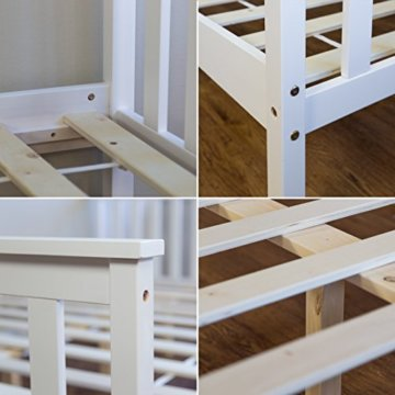 Homestyle4u 890 Holzbett Kiefer massiv , Doppelbett Holz aus Bettgestell mit Lattenrost , 140x200 cm , Weiß - 3