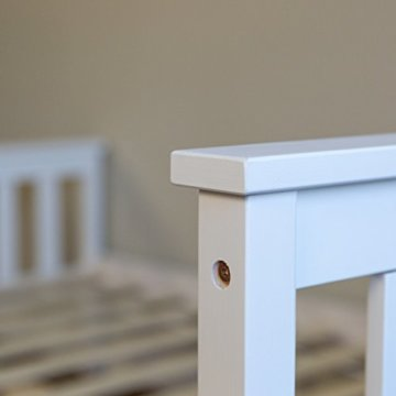 Homestyle4u 890 Holzbett Kiefer massiv , Doppelbett Holz aus Bettgestell mit Lattenrost , 140x200 cm , Weiß - 4