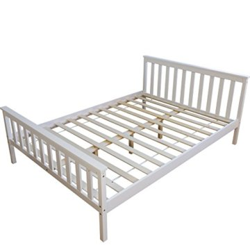 Homestyle4u 890 Holzbett Kiefer massiv , Doppelbett Holz aus Bettgestell mit Lattenrost , 140x200 cm , Weiß - 1