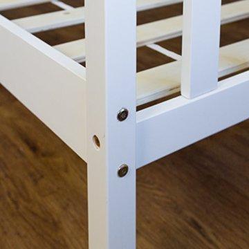 Homestyle4u 890 Holzbett Kiefer massiv , Doppelbett Holz aus Bettgestell mit Lattenrost , 140x200 cm , Weiß - 5