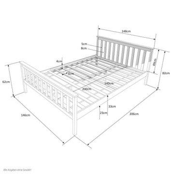 Homestyle4u 890 Holzbett Kiefer massiv , Doppelbett Holz aus Bettgestell mit Lattenrost , 140x200 cm , Weiß - 6
