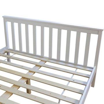 Homestyle4u 890 Holzbett Kiefer massiv , Doppelbett Holz aus Bettgestell mit Lattenrost , 140x200 cm , Weiß - 7