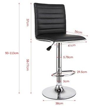 """HOMFA 2 Stk. Barhocker Barstühle """"klassig"""" Design drehbar höhenverstellbar Belastbar bis 160kg schwarz (Set 2) - 2"""