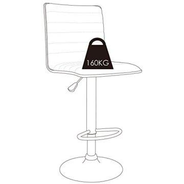 """HOMFA 2 Stk. Barhocker Barstühle """"klassig"""" Design drehbar höhenverstellbar Belastbar bis 160kg schwarz (Set 2) - 4"""