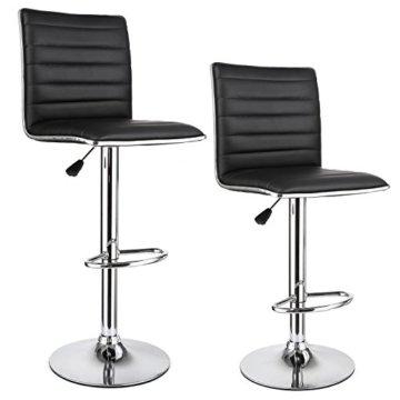 """HOMFA 2 Stk. Barhocker Barstühle """"klassig"""" Design drehbar höhenverstellbar Belastbar bis 160kg schwarz (Set 2) - 1"""