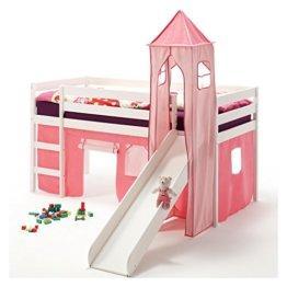 IDIMEX Rutschbett Hochbett Spielbett Bett BENNY Kiefer massiv weiss mit Turm+Vorhang pink 90 x 200 cm (B x L) mit Rutsche - 1