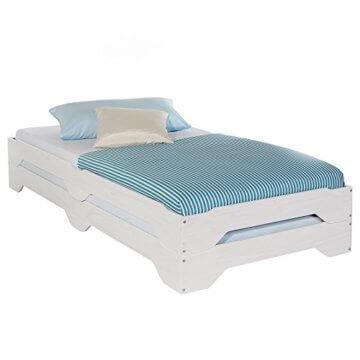 IDIMEX Stapelbetten Set Doppelbett Einzelbett Gästebett Bett RONNY Kiefer massiv weiss lackiert 90 x 200 cm (B x L) - 1