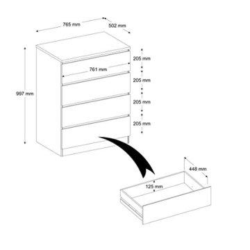 INFINIKIT Haven Kommode mit 4 Schubladen - Weiß - 4