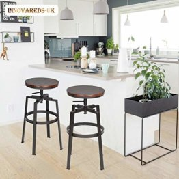 Innovareds® Set von 2 Barhocker Industrial Metall Stil Vintage Holz höhenverstellbar - 1