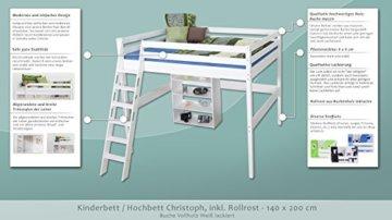 Kinderbett Hochbett Christoph Buche Vollholz massiv weiß lackiert inkl. Rollrost - 140 x 200 cm - 2